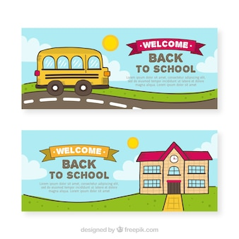 Hand drawn back to school banners with bus and building