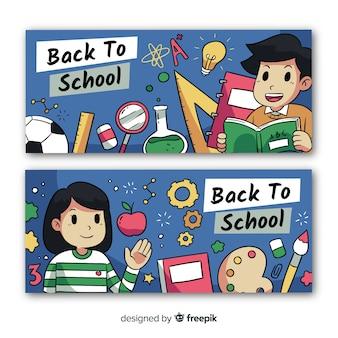 Disegnato a mano di nuovo a striscioni di scuola