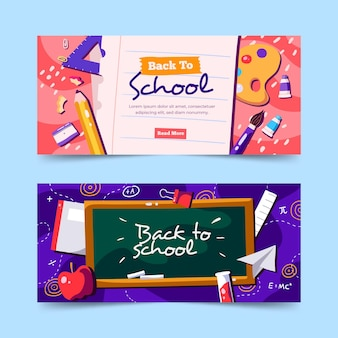 Hand-drawn back to school banners