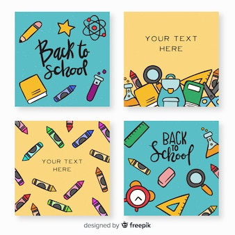 Hand drawn back to school card template collection