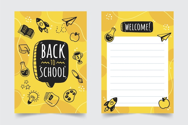 Hand drawn back to school card template