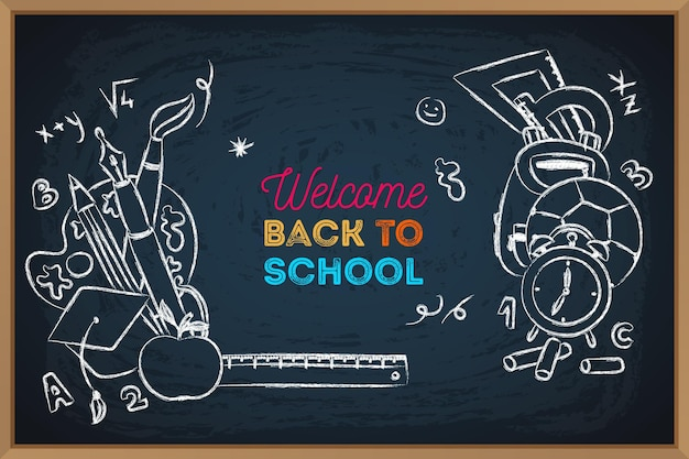 Hand drawn back to school chalkboard background