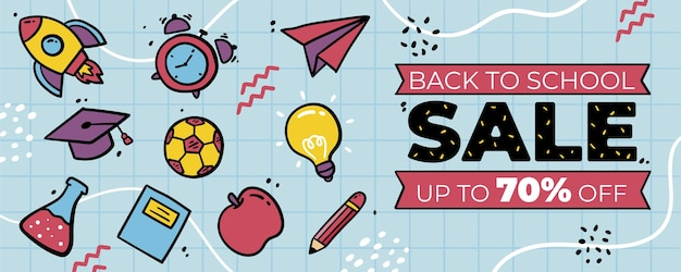 Hand drawn back to school horizontal banner template