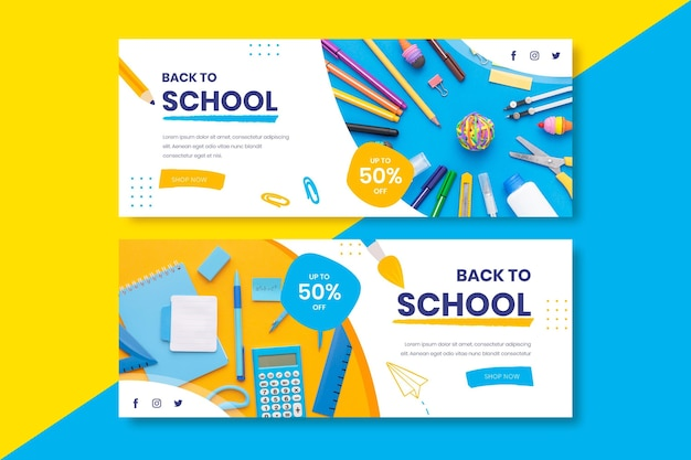 Hand drawn back to school horizontal banners set with photo