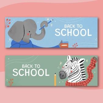 Hand drawn back to school horizontal sale banners set