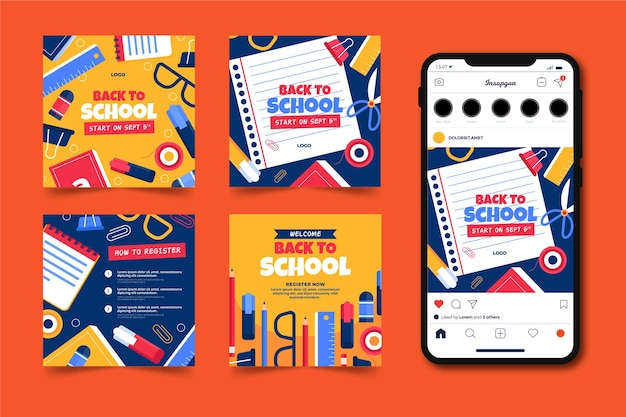 Hand drawn back to school instagram posts collection