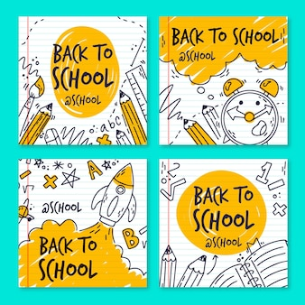 Hand drawn back to school instagram posts