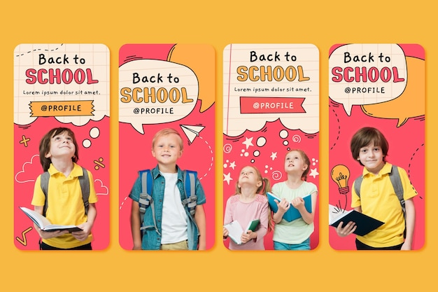 Hand drawn back to school instagram stories collection with photo