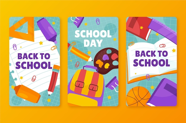 Hand drawn back to school instagram stories collection