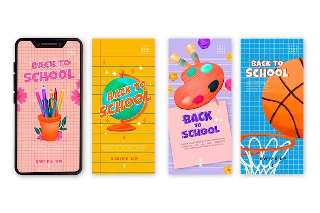 Disegnato a mano indietro alla raccolta di storie di instagram di scuola
