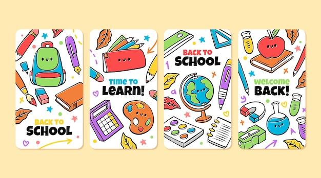 Disegnato a mano nella raccolta di storie di instagram della scuola