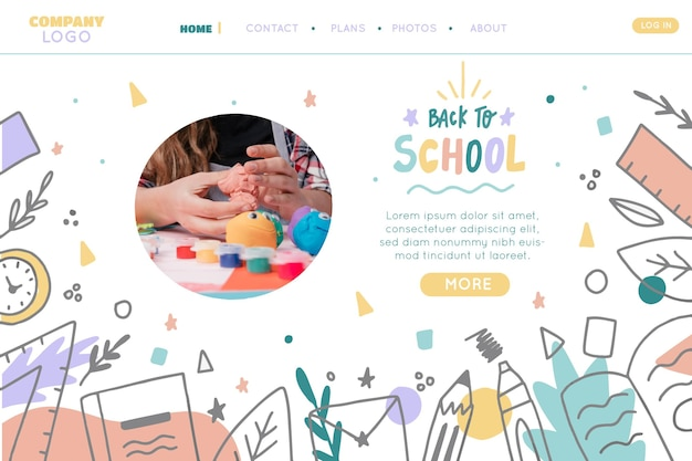 Hand drawn back to school landing page template with photo