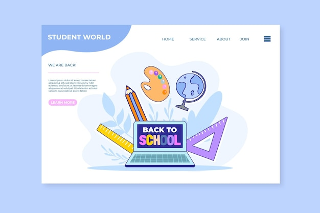 Hand drawn back to school landing page template