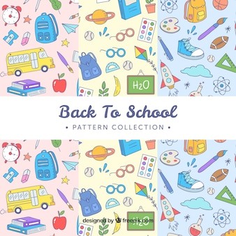 Hand drawn back to school pattern collection