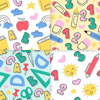 Disegnato a mano alla collezione di modelli scolastici pattern