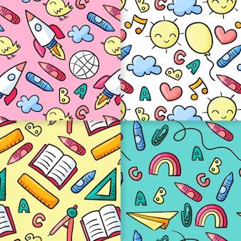 Disegnato a mano alla collezione di modelli scolastici pattern Vettore gratuito
