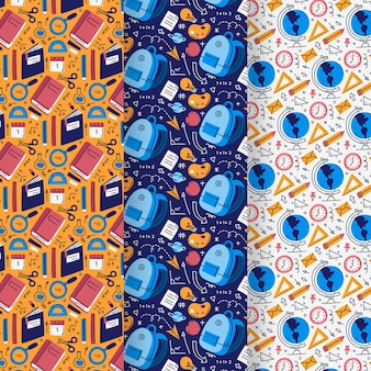 Hand drawn back to school pattern collection Premium Vector