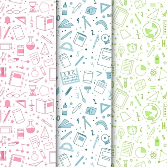 Hand drawn back to school pattern set