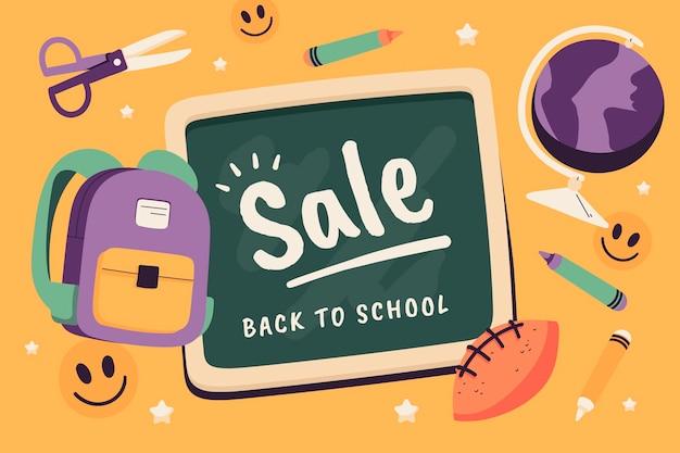 Disegnato a mano sullo sfondo della vendita della scuola Vettore gratuito