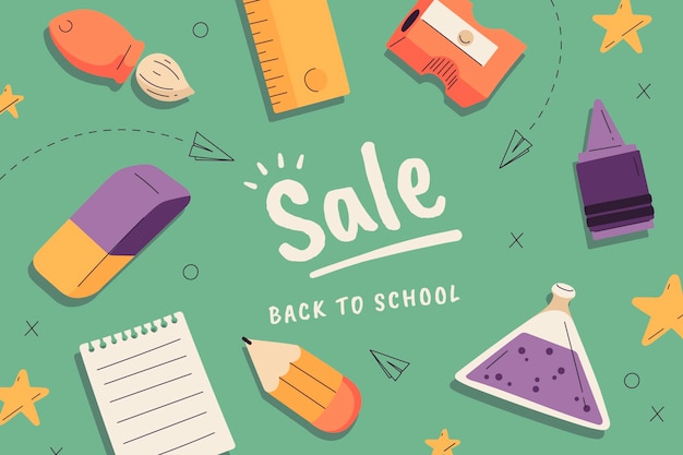 Hand drawn back to school sale background
