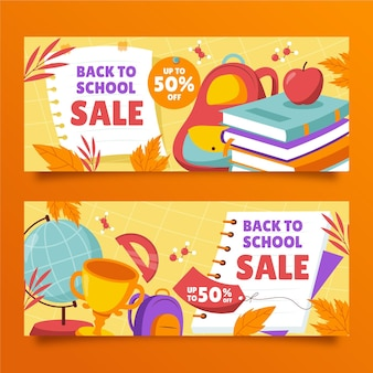 Hand drawn back to school sale banners set
