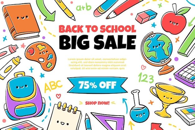Disegnato a mano di nuovo ai banner di vendita della scuola con foto