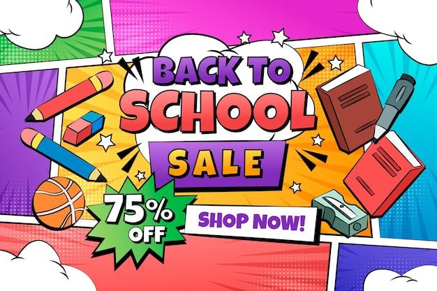 Disegnato a mano al modello di banner orizzontale di vendita della scuola