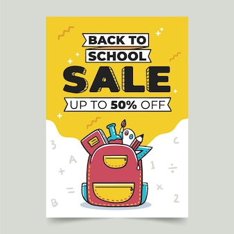 Hand drawn back to school sale vertical poster template