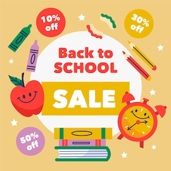 Hand drawn back to school sales banner
