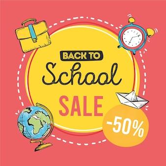 Disegnato a mano di nuovo al concetto di vendite della scuola