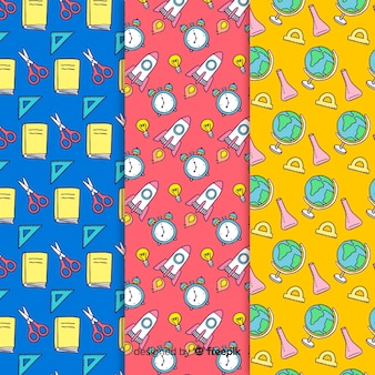 Hand drawn back to school sales pattern collection