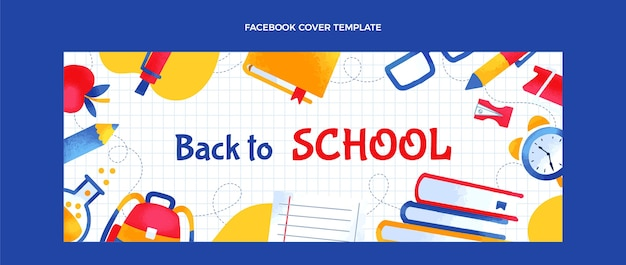 Hand drawn back to school social media cover template