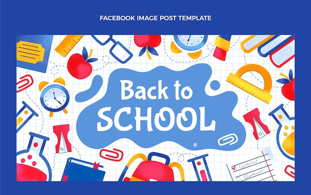 Hand drawn back to school social media post template