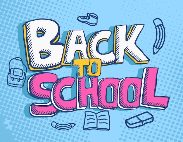 Hand drawn back to school text with doodle