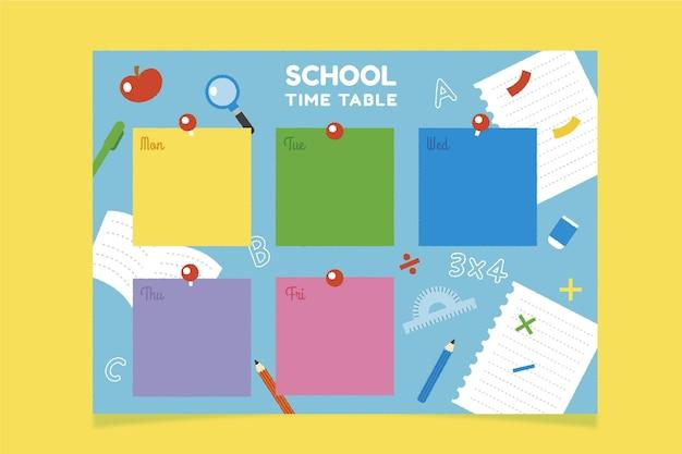 Disegnato a mano al modello di orario scolastico