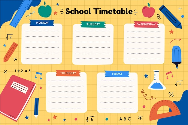 Hand drawn back to school timetable template