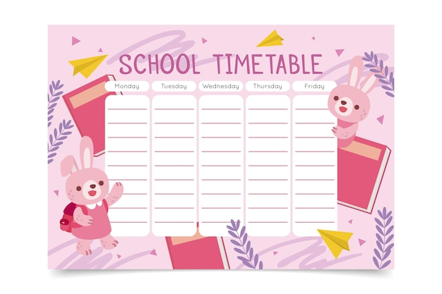 Hand drawn back to school timetable with bunnies