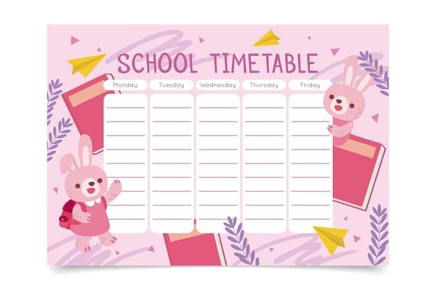 Disegnato a mano di nuovo all'orario scolastico con i coniglietti