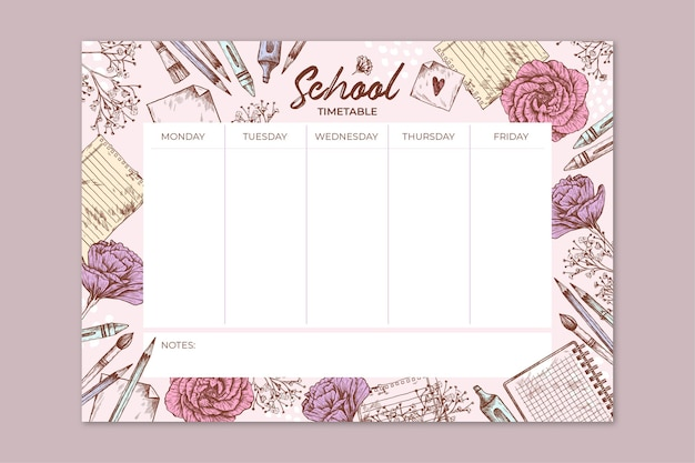 Hand drawn back to school timetable