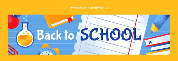 Hand drawn back to school twitch banner