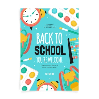 Hand drawn back to school vertical poster template
