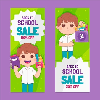 Set di banner di vendita verticale disegnato a mano per tornare a scuola
