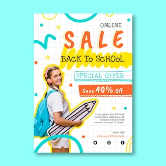 Hand drawn back to school vertical sale flyer template with photo