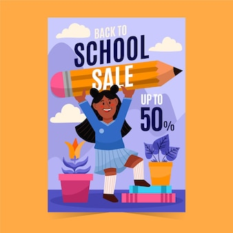 Disegnato a mano al modello di volantino di vendita verticale della scuola