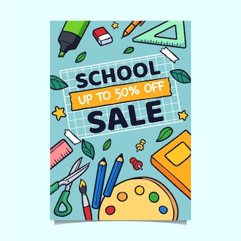 Hand drawn back to school vertical sale flyer template