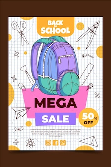 Hand drawn back to school vertical sale poster template