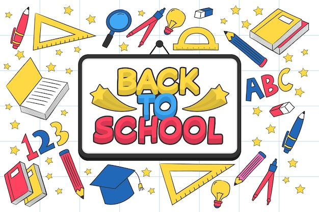 Hand-drawn back to school wallpaper theme