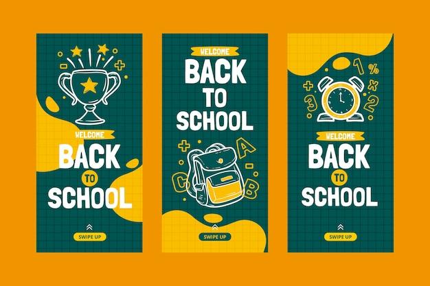 学校のinstagramストーリーコレクションに引き戻された手 無料ベクター