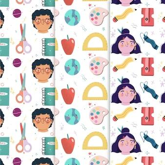 손으로 학교 패턴 컬렉션에 다시 그린