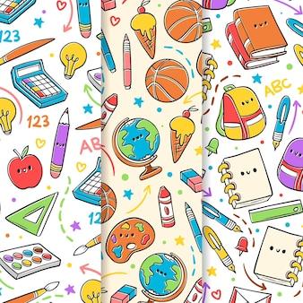 학교 패턴 컬렉션으로 다시 그린 손